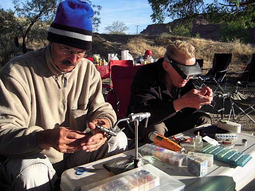 Steve Cooper and Mike McGuire Tying Purple MIdges